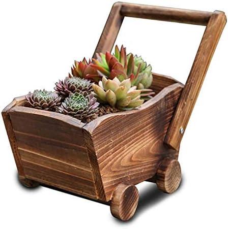 YouNITE ポットフラワーベッドクリエイティブウッド植木鉢漫画のカートガーデンプランター植物のウィンドウボックストラフポットジューシーな花壇の植物 (Color : Brown)