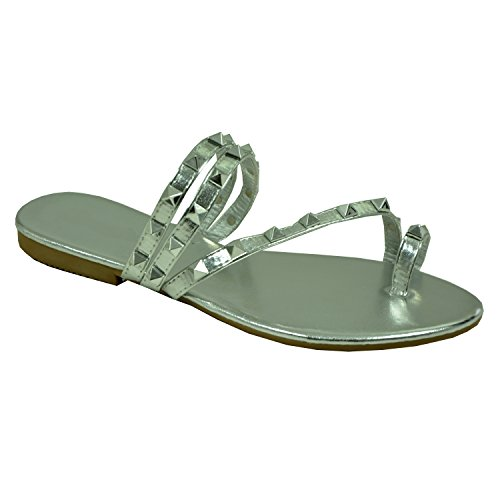 Cucu Fashion Brand New Womens Rock Stud Flip Flops Ladies Girls Flats Slip On Sandals Shoes Size UK 3-8 Silver
