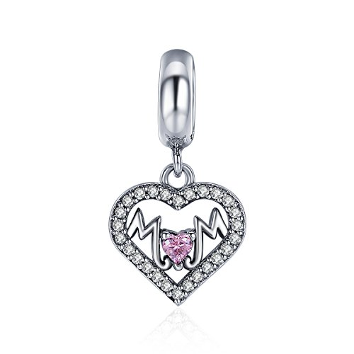 The Kiss Loving Mother I Love Mom Mother Center of My Heart Family 925 Sterling Silver Bead Fits European Charm Bracelet (Sweet Heart to MOM -