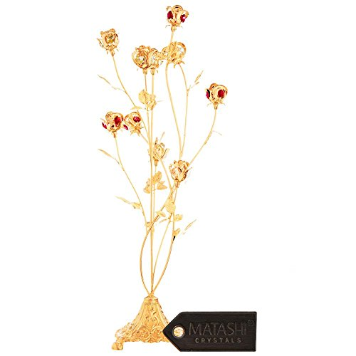 Mothers Day Gift – 24K Gold Plated Crystal Studded 10 Piece Rose Bouquet Flower Ornament Crafted with Stunning Ruby red Crystals - Great Gift for Mother's by Matahsi by Matashi