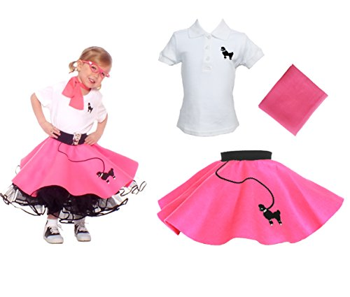 [Toddler 3 Piece Poodle Skirt Costume Set Hot Pink 2T] (Homemade Kids Halloween Costumes Unique)