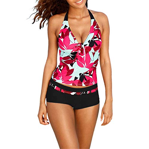 (Women's Printed Two Piece Tummy Control Tankini Swimsuits for Women Halter Bathing Suit with Boyshort Red XL)