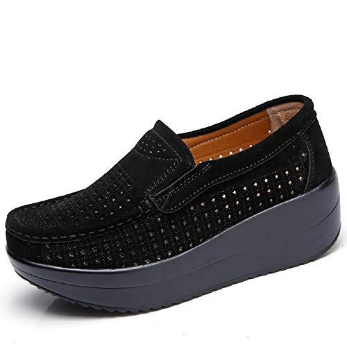 Qiusa Zapatos ahuecados de la Mujer Mocasines de la Plataforma del Cuero Respirable de la Comodidad (Color : Azul, tamaño : EU 40) Negro