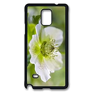 Note 4 Cases, Personalized Hard PC Black Case Cover for Samsung Galaxy Note 4 One White Flower