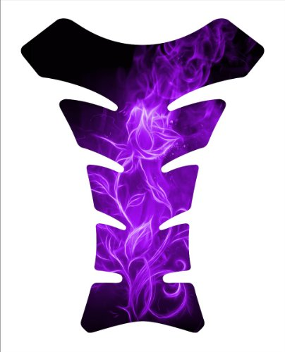 Flaming Rose Purple Flower Motorcycle Tankpad Kawasaki Ninja ZX Suzuki GSXR Honda CBR Yamaha YZF Motorcycle TanK pad Gel Decal by Immortal Graphix
