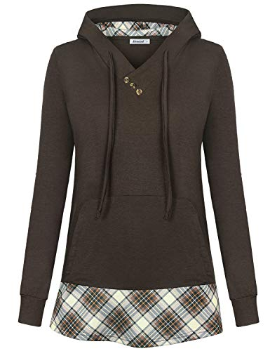 - Altelime Hooded Shirts for Women, Women's Long Sleeve Tunic Pullover Hoodie Button Cross V Neck Lightweight Color Block Stretchy Splicing Plaid Sweatshirts Flowy Casual Tops Coffee XL