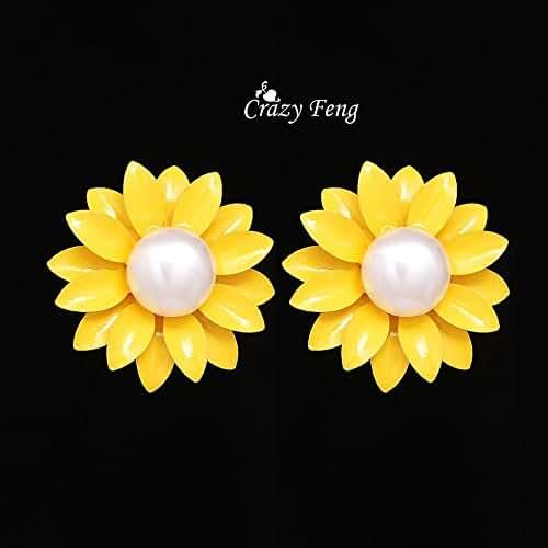 Chokushop Pearl Earrings Women Fashion Jewelry Yellow Blue Color Sunflower Stud Earring Earing Jewellery
