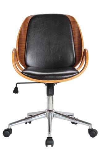 Boraam 97911 Mira Desk Chair, Black Leather Steel Table