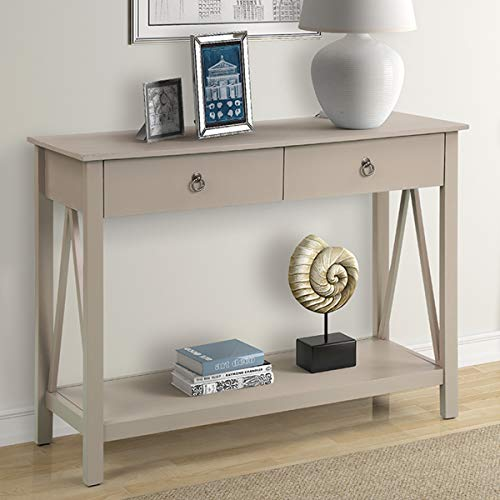 P PURLOVE Sideboard Console Table, Entryway Table, Sofa Table with 2-Drawers and Bottom Shelf (Gray)