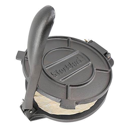 10 Inch Cast Iron Tortilla Press by StarBlue with FREE 100 Pieces Oil - Tortilla Iron Cast