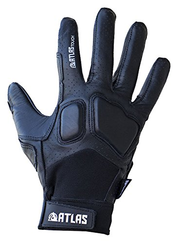 Atlas Truck Touch Longboard Slide Gloves Medium/Large Black, Perforated Leather Skateboard Gloves with Touch-Screen Enabled Index Finger, Reinforced Double Leather Index Finger & Thumb Guard by Atlas Truck