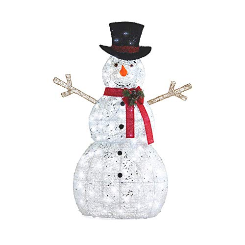 NOMA 5 Ft. Pre-Lit LED Light Up Snowman with Top Hat | Outdoor Christmas Lawn Decoration | 5 Feet