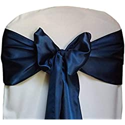 mds Pack of 50 Satin Chair Sashes Bow sash for Wedding and Events Supplies Party Decoration Chair Cover sash -Navy Blue