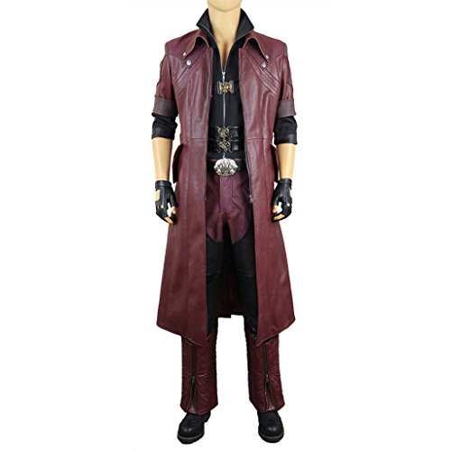 Mtxc Men's Devil May Cry 4 Cosplay Costume Dante Outfit Size Large Maroon (Devil May Cry Halloween Costumes)