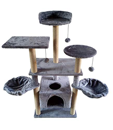 WIKI 04G Three Levels Pet Play House Cat Tree Tower Furniture Condo Activity Center with Sisal Scratching Posts Perches Hammock for Scratching Grey