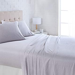 "AmazonBasics Lightweight Super Soft Easy Care Microfiber Bed Sheet Set with 16"" Deep Pockets - Queen, Grey Crosshatch"
