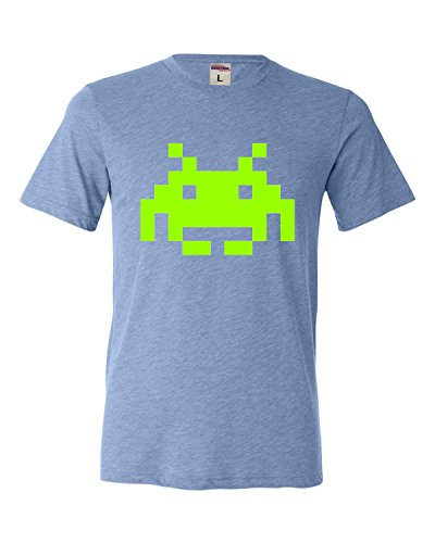 Blue Adult Space Invaders Retro Gaming Triblend T-Shirt