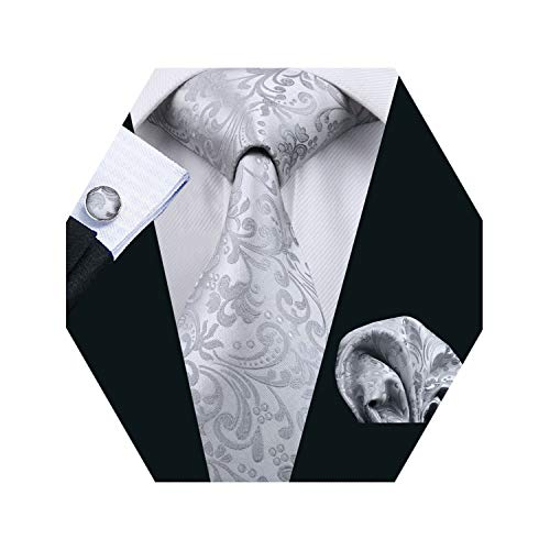 Barry.Wang Mens Tie Set Gray Floral Silk Necktie Handkerchief Cufflinks