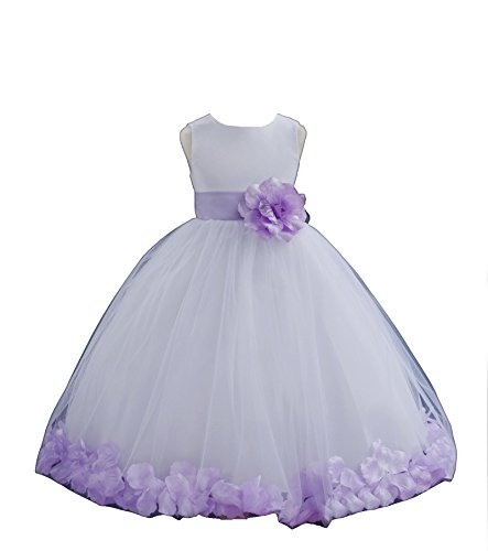 ekidsbridal White Tulle Rose Petals Junior Flower Girl Dresses Christening Dresses 302S S