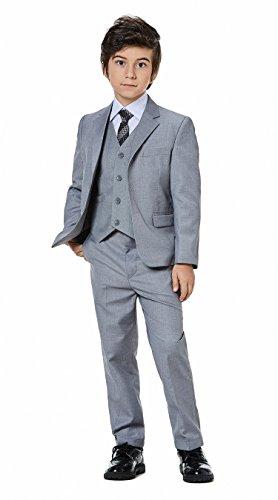 Suit Dress 5 Boy (WQI.HAN Boys Classic Formal Dress Suits Set 5 Piece Slim Fit Dresswear Suit (4, Grey))