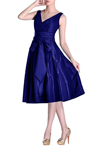 bridesmaids line Bridesmaid Dress neck Modest Formal V Tea Königsblau Taffeta Length Pleated A Tt5Ptn1Wq