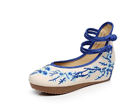 Lazutom Women Lady Chinese Style Embroidery Rubber Sole Platform Wedge Party Dress Shoes Blue p1KfJN