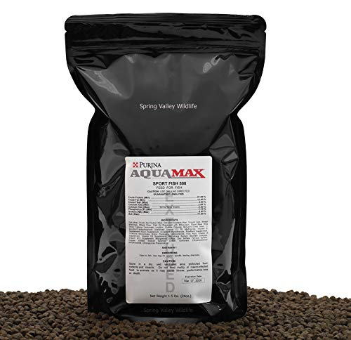 - Purina Mills AquaMax Sport Fish 500, 1.5lbs, 3/16in (4.8mm) Extruded Floating Pellets for Trout, Bluegill, Hybrid Striped Bass, Yellow Perch, Sunfish, Crappie, Red Drum, and Many Other Species.