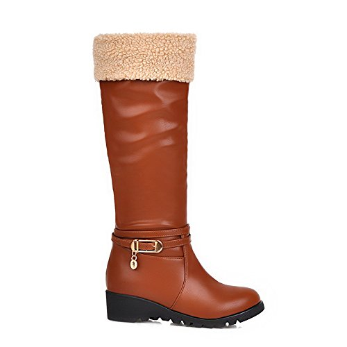 Top Toe Kitten Boots Material High Solid AmoonyFashion Brown Round Heels Closed Soft Women's qztw4xU1nA