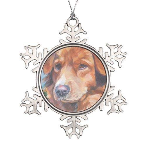 Liz66Ward Nova Scotia Duck Tolling Retriever Toller Art Snowflake Christmas Ornaments Pewter Novelty Funny Christmas Decorations for Tree for ()