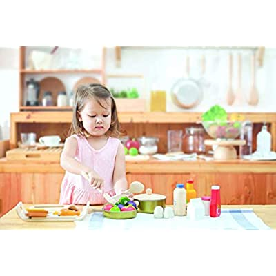 PlanToys Wooden and Metal Cooking Utensils, Pots, & Pans Kitchen Playset (3413) | Sustainably Made from Rubberwood and Non-Toxic Paints and Dyes: Toys & Games