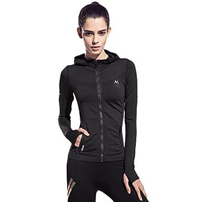 SEEU Women's Sport Hoodies, Full-Zip Long Sleeve Hooded Running Jacket