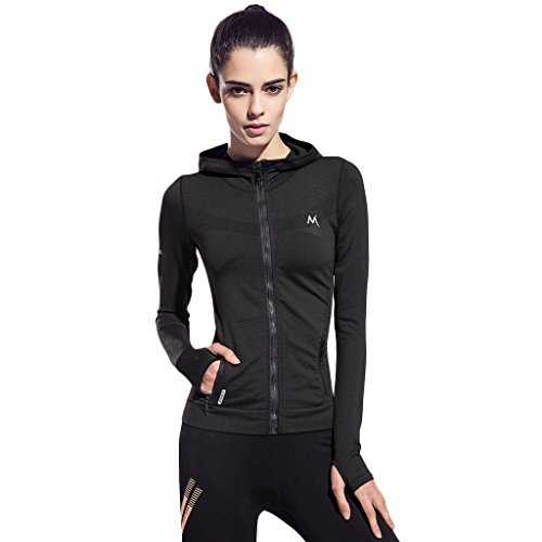 SEEU Women's Active Performance Full-zip Jacket Black (Cycling Womens Zip Hoodie)