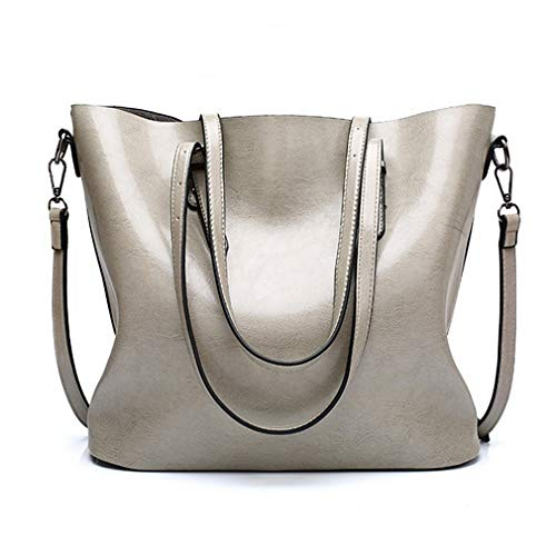 (Pahajim Women Leather Top Handle Handbags Satchel Purse Shoulder Bag Lady Tote Bag(Gray))