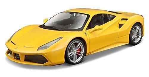 New 1:24 DISPLAY FERRARI RACE & PLAY - YELLOW FERRARI 488 GTB Diecast Model Car By BBurago -