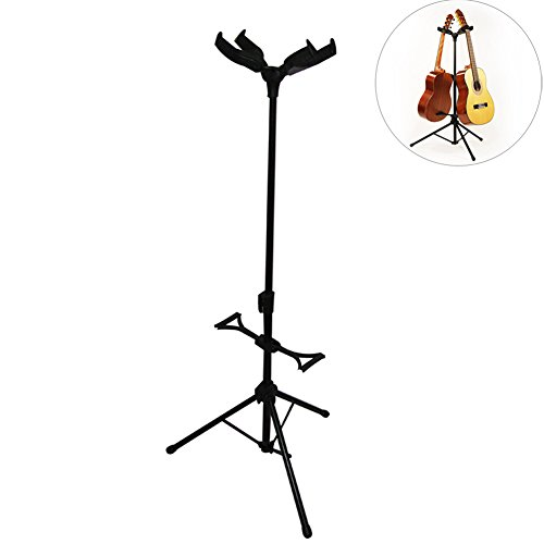 OLizee Adjustable Folding Guitar Stand with 2 Auto Lock Heads for Acoustic Electric Classic and Bass Duo Double Guitar Stand
