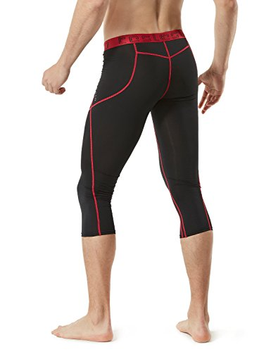 TM-MUC18-KKR_Large TSLA Men's Compression Capri Shorts Baselayer Cool Dry Sports Tights MUC18 by TSLA (Image #4)