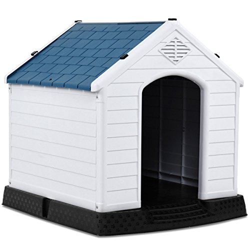 Giantex Plastic Dog House Waterproof Ventilate Pet Kennel with Air Vents and Elevated Floor for...