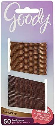 Goody Pino de cabelo feminino coleção cor de cabelo com acabamento metálico, morena, 50 unidades