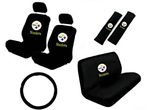 11 piece nfl auto interior gift set pittsburgh steelers a set of 2 seat covers. Black Bedroom Furniture Sets. Home Design Ideas