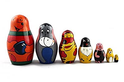 Matryoshka Russian Nesting Doll Babushka Beautiful Cartoon Character Winnie the Pooh Tale Set 7 Pieces Pcs Wooden Hand Painted Souvenir Gift