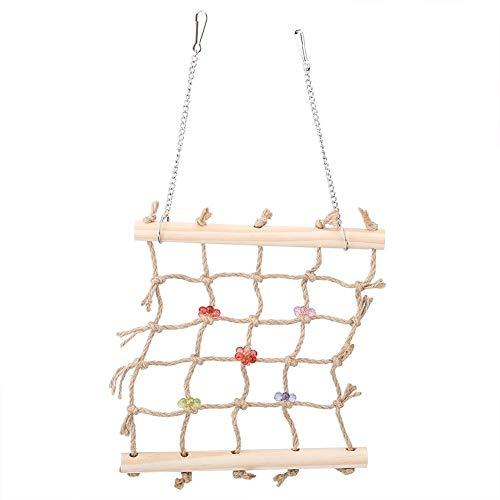 Minnya Bird Chew Toy Wooden Hanging Climbing Ladder Colorful Pet Parrot Chew Toy Bird Climbing Net Swing Rope Hanging…