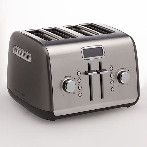 KitchenAid KMT422QG 4-Slice Toaster with Manual High-Lift Lever and Digital Display - Liquid Graphite