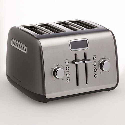 KitchenAid RKMT422QG (CERTIFIED FACTORY REFURBISHED)4-Slice Toaster with Manual High-Lift Lever and Digital Display - Liquid Graphite