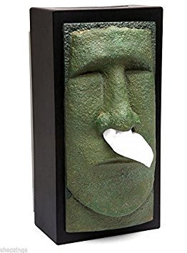 Tiki Head Facial Tissue Box Holder. Cover Dispenser Face Easter Island Retro NEW (Cover Rudy Box Tissue)