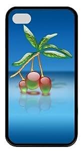 3d Cute Plant TPU Black Case for iphone 4S/4 Kimberly Kurzendoerfer