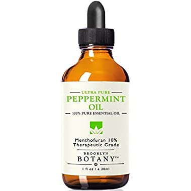 Peppermint Essential Oil 10% Menthofuran - Brooklyn Botany - 100% Pure, 1 fl oz - Great for Aromatherapy, Mice & Spider Repellent