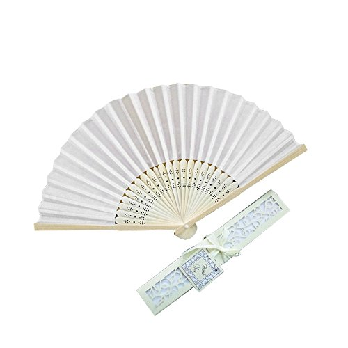Hot Sale!DEESEE(TM)Stunning Silk Fans With Gift Box Wedding Favours Beach Party (Beige) ()