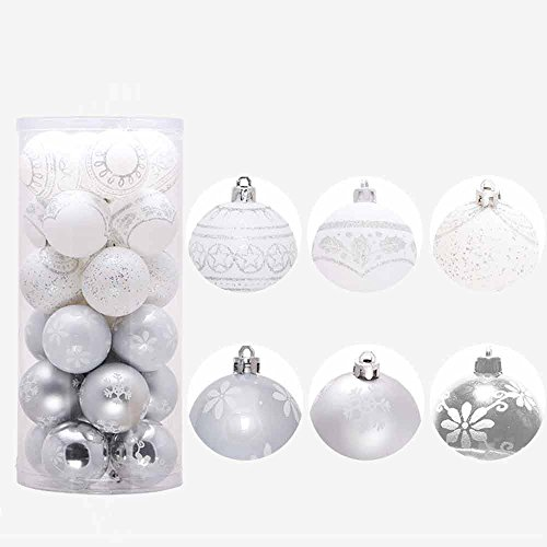 Honhui 1Pcs Christmas Ball Ornaments Xmas Tree Baubles Decorations Ornament For Party (Silver) by Honhui