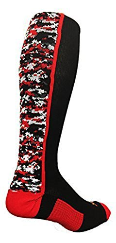 Red Kids Basketball (TCK Sports Digital Camo Over The Calf Socks (Black/Red, Kids 12-5))