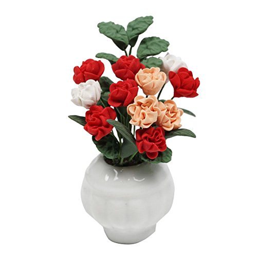 Zeroyoyo 1:12 Scale Dolls House Miniature Mini Lifelike Multicolor Magnolia Floral Pot Fake Flowers Plant (Magnolia Pots)